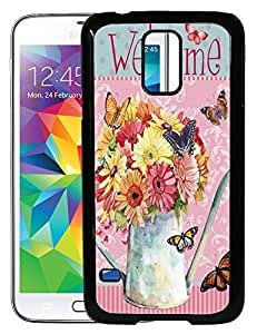FCS Printed 2D Designer Hard Back Case For Samsung Galaxy S5 With Universal Mobile Stand