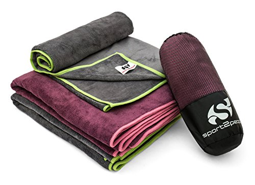 Quick Drying Microfiber Yoga Sports Travel Towel - Perfect for the Gym, Camping, Fitness, Backpacking and the Beach - Most Absorbent on The Market - Extremely Soft and Lightweight