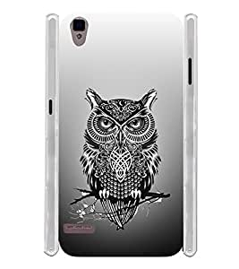 Tatto Owl Pattern Art Soft Silicon Rubberized Back Case Cover for Oppo F1
