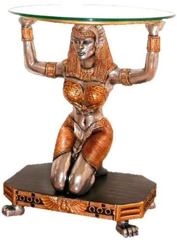Buy Low Price Ancient Egyptian Goddess Statue Sculpture Glass Console Foyer Hall Table (NE867002)