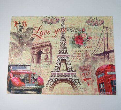 France French Paris Eiffel Tower Red Car Triumphal Arch Rose Phone Booth Door Mat Floor Rug Decor front-100659