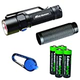 Olight S15 Baton XM-L 280 Lumens LED single AA Flashlight EDC with free extender tube, Smith & Wesson LED CaraBeamer Clip Light and four EdisonBright AA alkaline Batteries