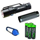 Olight S15 Baton XM-L 280 Lumens LED single AA Flashlight EDC with free extender tube, Smith & Wesson LED CaraBeamer Clip Light and four EdisonBright AA alkaline Batteries