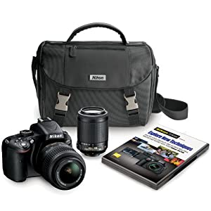 Nikon D5100 16.2 MP CMOS Digital SLR Camera Bundle with 18-55mm and 55-200mm VR AF-S Lenses