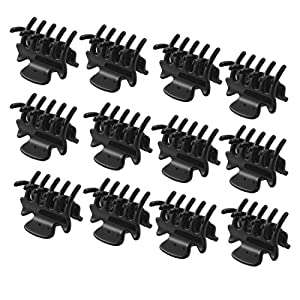 12 Pcs 1.1 Long Black Plastic Mini Hairpin 10 Claws Hair Clip Clamp for Ladies
