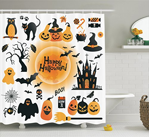 [Ambesonne Halloween Decorations Collection, Pattern of All Hallows Day Objects Haunted House Owl and Trick or Treat Candy, Polyester Fabric Bathroom Shower Curtain Set with Hooks, Orange] (Halloween Ideas For Couples)