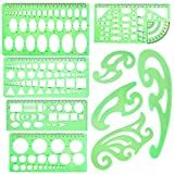 SIQUK 9 Pieces Drawings Templates French Curve Geometric Templates Measuring Rulers Clear Green Plastic Rulers for Engineering, Studying and Designing