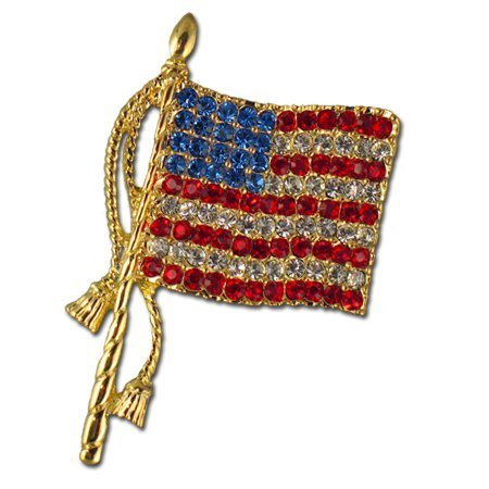 Classic Crystal American Flag Brooch/pin