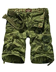 Match Mens Retro Camo Plaid Cargo Sh…