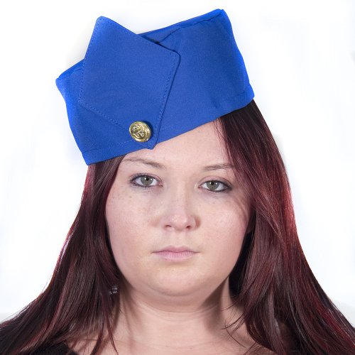 HMS Retro Stewardess Hat, Blue, One Size - 1