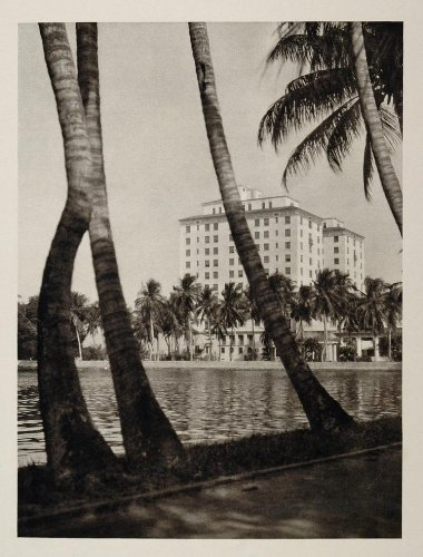 1927 Whitehall Club Hotel Building Palm Beach Florida - Original Photogravure