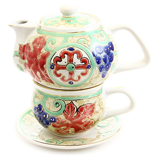 "Porcelain Hand-Painted Tea For One Set ""Cross And Grapes"" 11.8/8.1 Ounces Art Work Of Artists Of St Elisabeth Convent"