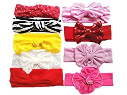 Toptim Baby Girl\'s Turban Headband Head Wrap Knotted Hair Band (9 Pieces) (Mix 9 Colors)