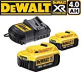 2 X Dewalt DCB182 18V XR li-ion Battery 4.0Ah + DCB105-XJ Battery Charger UK CE