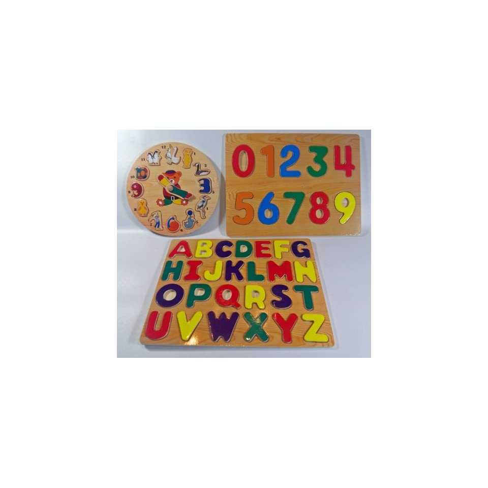 Clock, Letters/Alphabet, Numbers Learning Set of 3 Raised