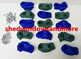 Textured Rock Holds Blue/green Set of 12 W/hardware Rock Peg Rock Wall Rock Holds Climbing Rock Wall
