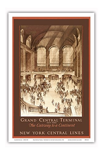 Grand Central Terminal, New York - The Gateway to a Continent - New York Central Lines - Vintage Railroad Travel Poster by Earl Horter c.1920s - Master Art Print - 12in x 18in (Central Train New York Poster compare prices)