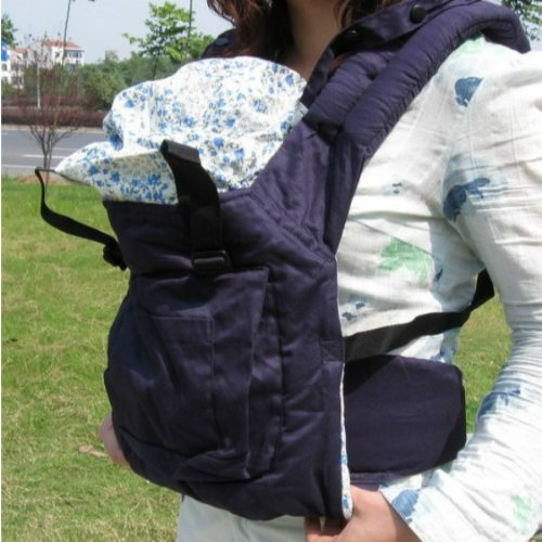 Hunnt® Cotton Baby Carrier Infant Comfort Backpack Buckle Sling Wrap Fashion Full Pad Adjustable Blue