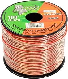 Pyramid RSW18100 18 Gauge 100 Feet Spool of High Quality Speaker Zip Wire