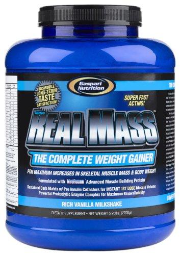 Gaspari Nutrition Real Mass 2700 g Vanilla Milkshake Weight Gain Shake Powder