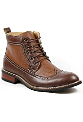 Ferro Aldo MFA-806278 Men's Brown Lace Up Wing Tip Perforated Dress Ankle Boot