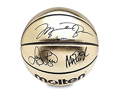 MICHAEL JORDAN, MAGIC JOHNSON, & LARRY BIRD Signed Molten Gold Trophy Basketball LE of 92 UDA.