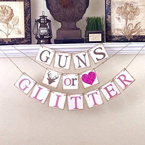 Gender Reveal Banner, Baby Shower Decor, Guns or Glitter Banner, Baby Shower Decorations, Brown and Pink (Gun Blue Sealer compare prices)
