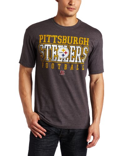 NFL Men's Pittsburgh Steelers Posted Victory Short Sleeve Crew Neck Overdyed Tee by Majestic