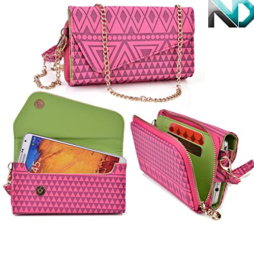 Womens Wristlet Clutch Faea F2 With Credit Card Holder & Removable Crossbody Chain| Tribal Aztec Mayan Pattern| Strawberry Pink Raspberry Sorbet Mint Green + Nd Cable Tie