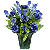 Blue Roses and Calla Lilies Weighted Potted Silk Arrangement by Sympathy Silks® (PT1158) Sale