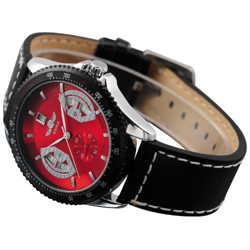 ESS New Gents Men Automatic Analogue Wrist Watch Black Leather Strap Red Dial WM122