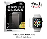 38mm Apple Watch Tempered Glass, (2-Pack) ProtoCASE Ultra Clear Tempered Glass Screen Protector for iWatch Apple Watch 38mm Series 1 and Series 2