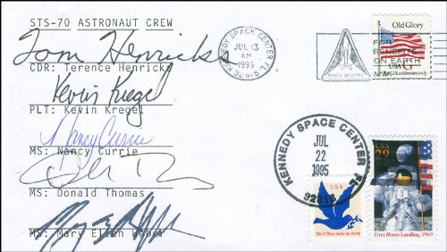 """Space Shuttle Discovery - Sts - 70 Crew - Commemorative Envelope Signed Co-Signed By: Colonel Terence """"Tom"""" Henricks, Donald A. Thomas, Colonel Nancy Currie, Mary Ellen Weber, Kevin Kregel"""