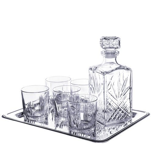 Selecta 7 Piece Whiskey Set (6 Dof Glasses, 1 Decanter) with Tray (8 Pieces total) (Bar Decanter Set compare prices)