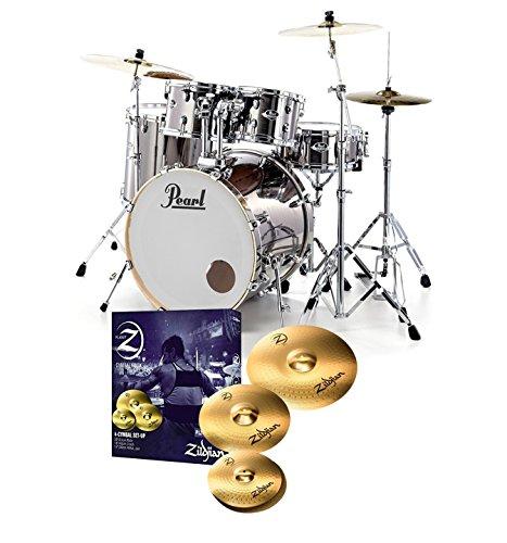 pearl-export-exx725s-drum-kit-smokey-chrome-zildjian-planet-z-cymbals
