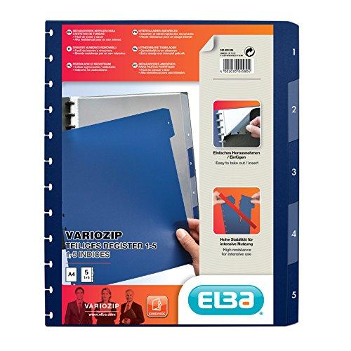 """Elba 61464 - Divisore per cartelle ad anelli a 5 scomparti """"manageMe"""", formato A4, con sistema """"vario-zipp"""", 10 pezzi, blu scuro/traslucido"""