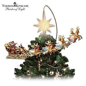 Thomas Kinkade Holidays in Motion Rotating Illuminated Treetopper