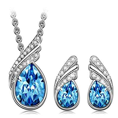 Qianse White Gold Plated Cable Chain Jewelry Set Made with Ocean Blue Swarovski Elements Crystals