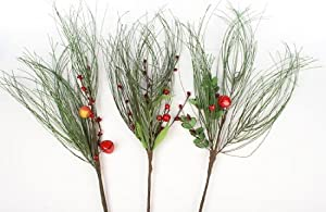 12 Artificial Long Need Pine Spray 22 inch long Stems Accented with Berries for Christmas and Holiday Decorating