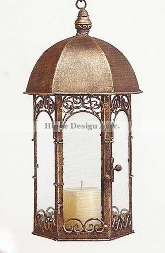 ANTIQUE GAZEBO Candle Lantern Bronze Tabletop Hanging Iron Outdoor Patio