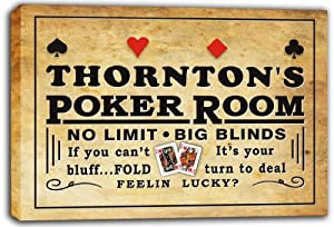 scpd1-1354 THORNTON'S Poker Room Beer Bar Stretched Canvas Print Sign