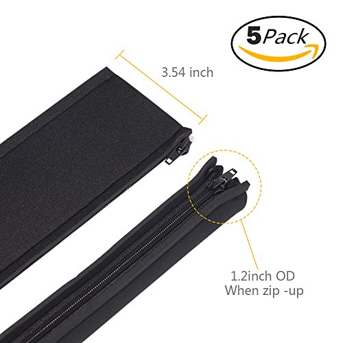 kootek five 20 inch zipper cable management neoprene cord cover sleeve wire hider concealer. Black Bedroom Furniture Sets. Home Design Ideas
