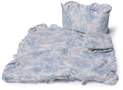 Baby Doll Bedding Toile Port-a-Crib Set, Blue