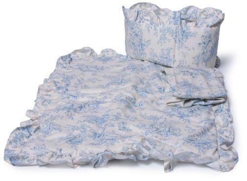 Baby Doll Bedding Toile Port-a-Crib Set, Blue