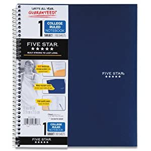 Five Star Wirebound Notebook, 1-Subject, 100 College-Ruled Sheets, 11 x 8.5 Inch Sheet Size, Navy (72059)