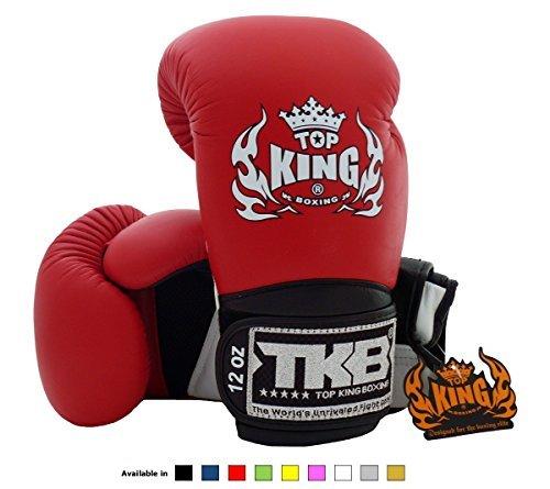 Top King Muay Thai boxe guanti super Air tkbgsa dimensioni: 8, 10, 12, 14e 16once, colore: nero, bianco, rosso, verde, blu, rosa e giallo Formazione Sparring Guanti da boxe per Muay Thai, MMA K1, White/Red/Black, 10 once, 184 g