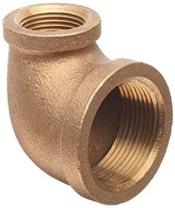 Anderson Metals Brass Pipe Fitting, 90 Degree Reducing Elbow, NPT Female