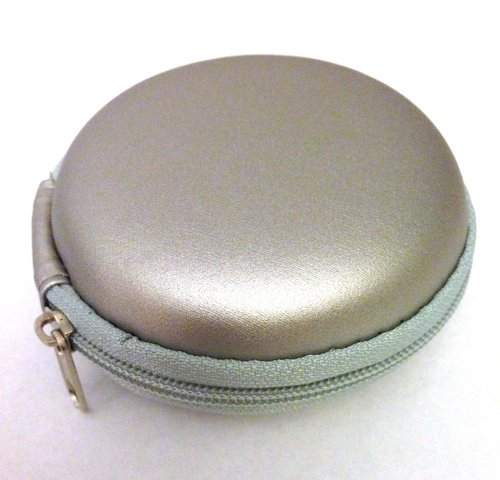 Silver Color Leather Carrying Case For Shure Se115 Se215 Se315 Se425 Se535 Se110 Se210 Se310 Se420 Se530 In-Ear Headphones Mobile Hands-Free Headset Wired Bag Holder Pouch Hold Box Pocket Size Hard Hold Protection Protect Save