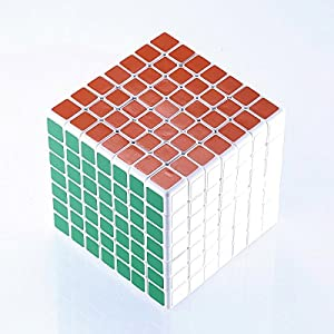 JohnsDollarStore 7X7X7 White Puzzle Magic Cube 6 Color