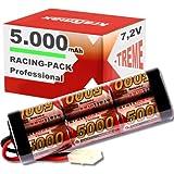 Kraftmax Akku Racing-Pack mit Tamiya-Stecker - 7,2V / 5000mAh / NiMH Akku / Hochleistungs RC Akkupack 5000 mah